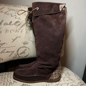 Sperry Longpoint Suede Knee High Tall Lace Boots